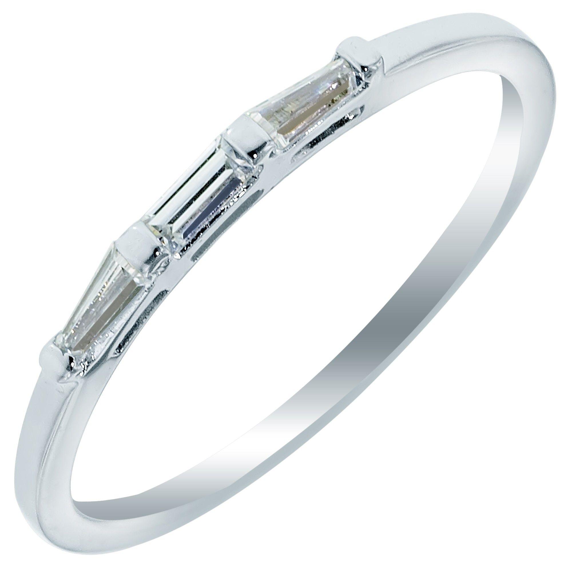 womens diamond wedding band 3 Stone Baguette Diamond Wedding Band in White Gold tw