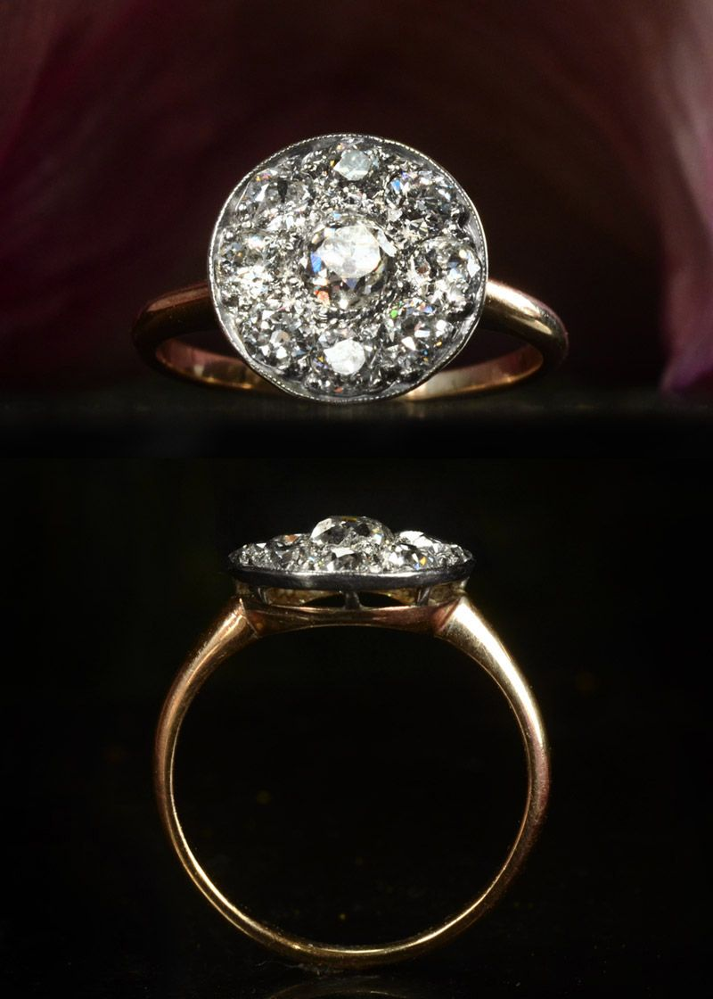 different wedding rings s Mine Cut Diamond Cluster Ring
