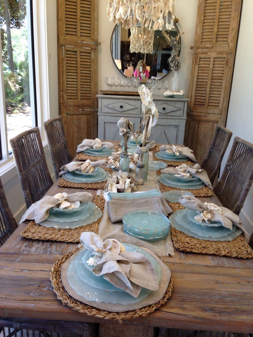 beachy kitchen table Dining Rooms tablescape dining table table setting accessories light blue beachy rustic