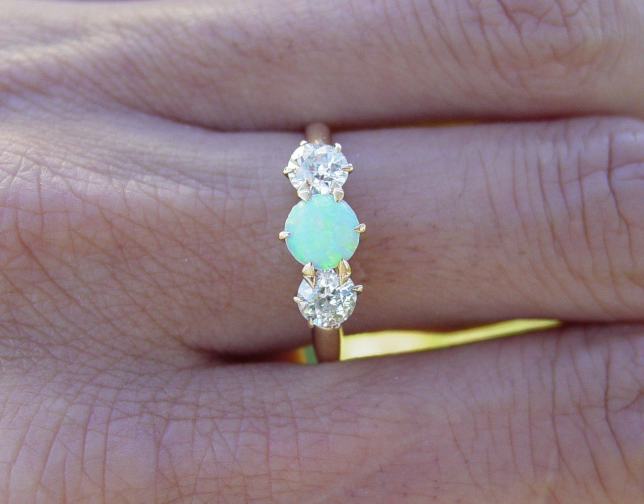 opal wedding rings Vintage antique Opal european diamond engagement ring