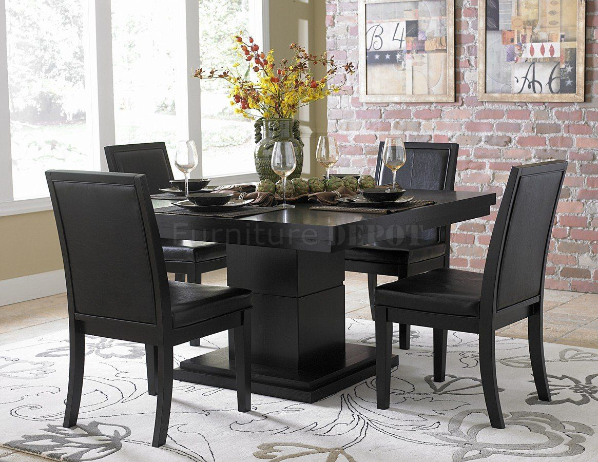 modern kitchen table chairs Black Finish Modern Dining Table w Optional Side Chairs