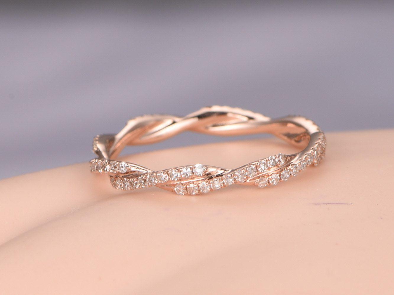 curved wedding band contour diamond wedding band Twisted shape Diamond wedding band 14k rose gold FULL eternity ring engagement ring