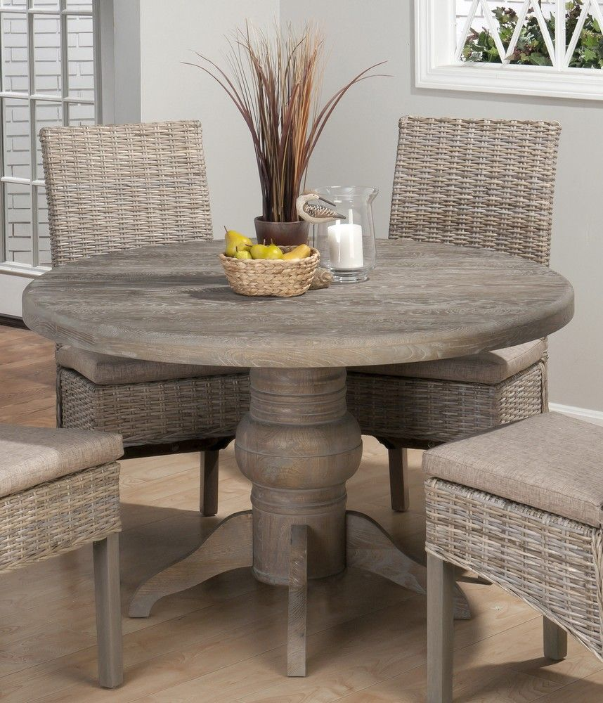 grey wood kitchen table Incredible View Of Dining Room With 48 Inch Fixed Top Round Dining Table Four Chairs Wooden