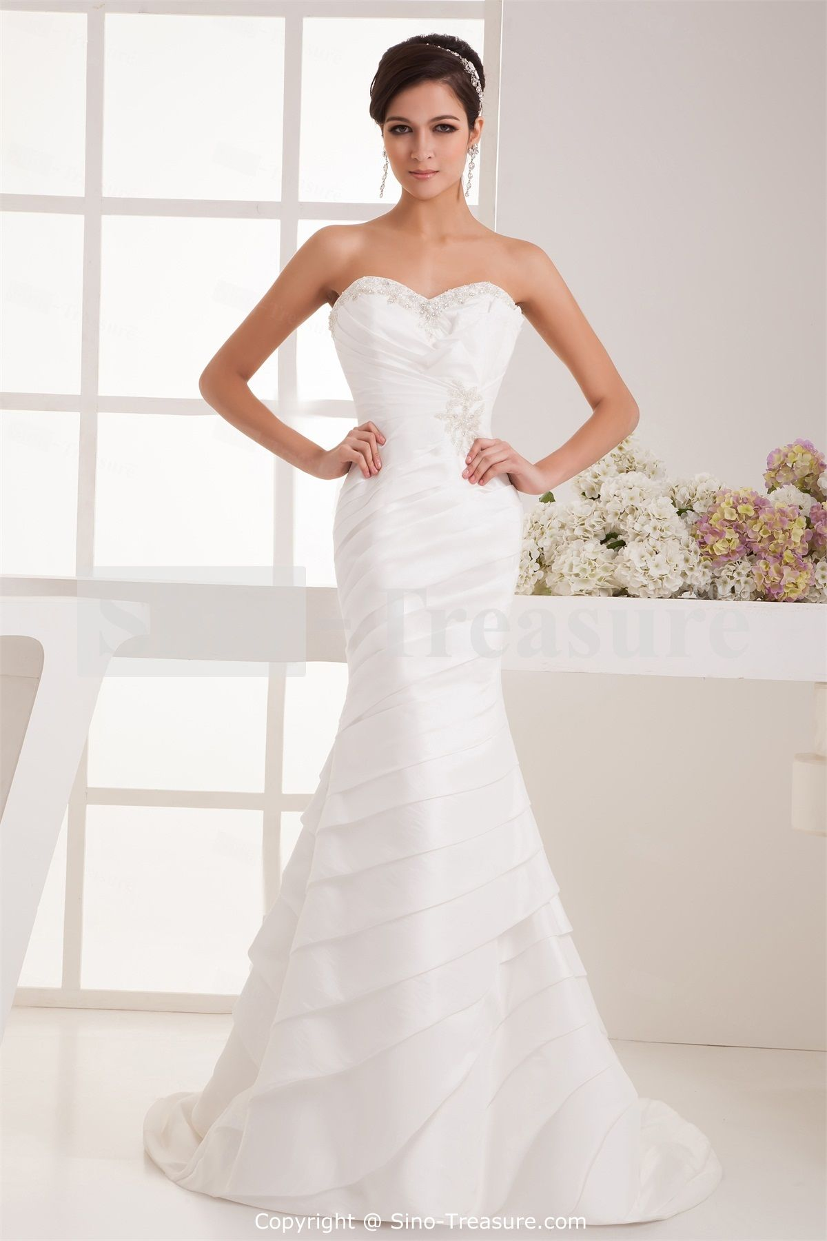trumpet wedding dresses White Beading Mermaid Trumpet Sweetheart Taffeta Wedding Dress Wedding Events Wedding Dresses