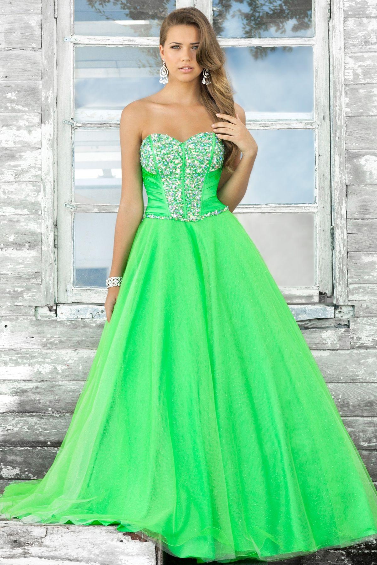 green wedding dress Beautiful apple green ball gown prom dress http www blushprom com