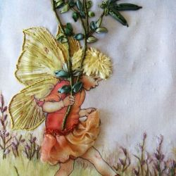 I ❤ Ribbonwork the Red Clover Fairy Stumpwork Embroidery By