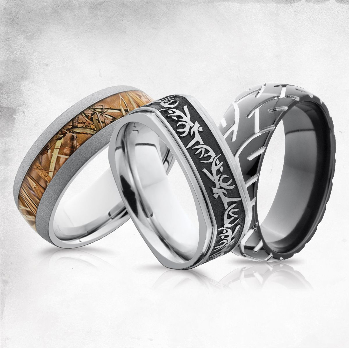 hunting wedding bands Hunting Camo and Tire Tracks Men s Wedding Bands Men s Wedding Rings