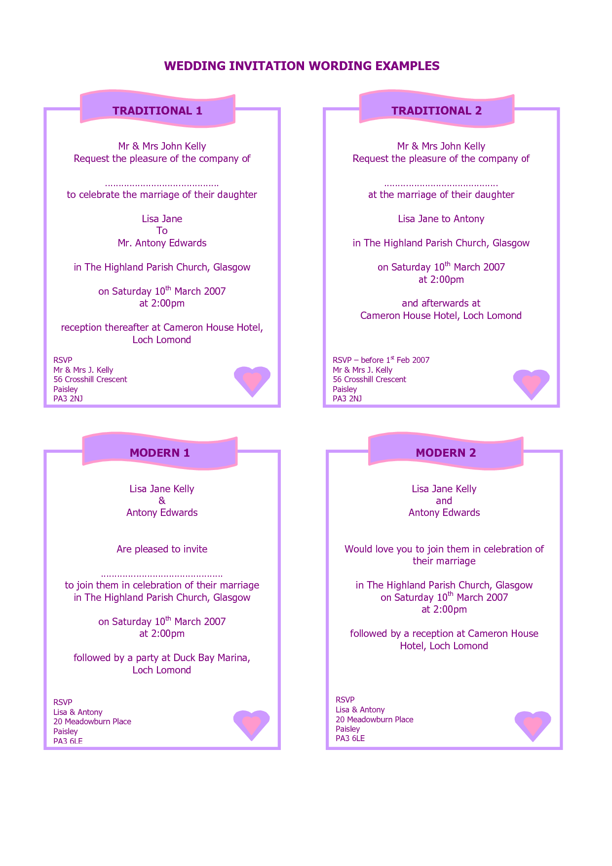 examples of wedding invitations Guide to Wedding Invitations Messages