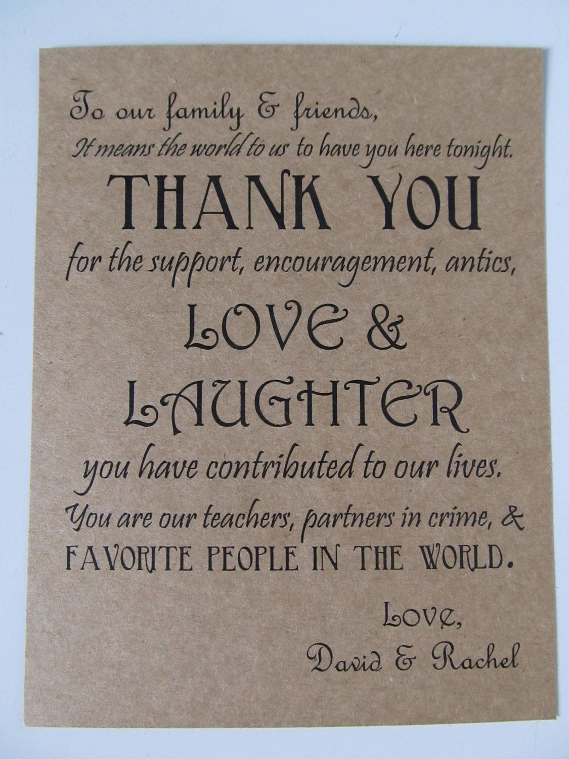 thank you cards wedding Wedding Thank You Card guests dinner plates or wedding favor 0 75 via