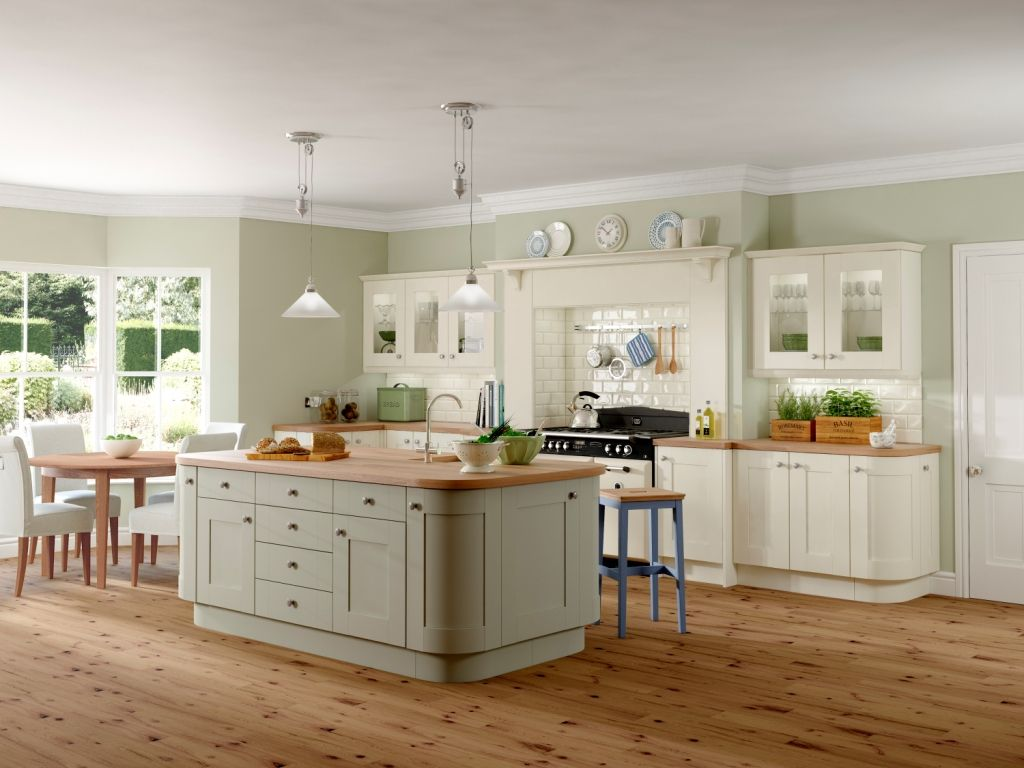 shaker kitchen island Gallery Rockfort Shaker Kitchen shown in stone finish base and wall units with island in olive