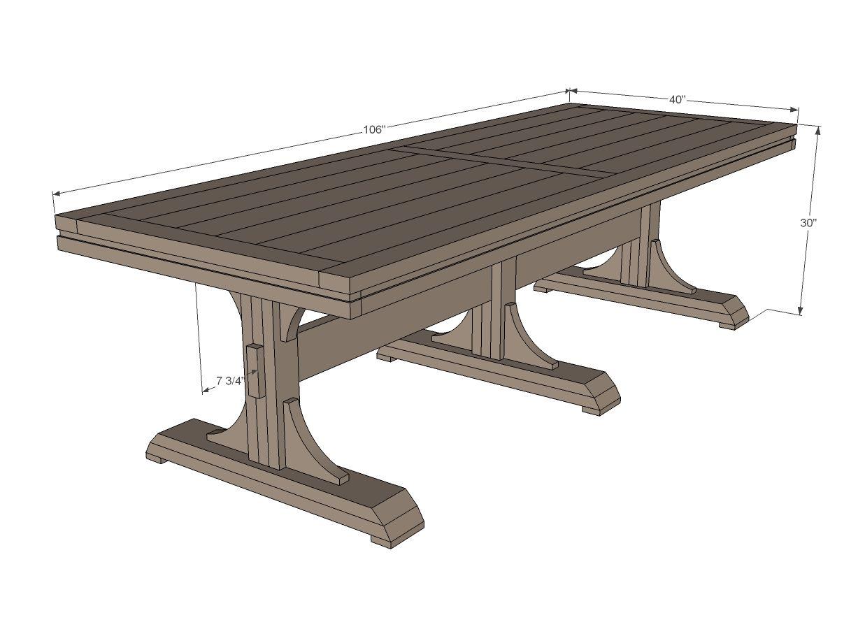 diy kitchen table plans Ana White Build a Triple Pedestal Farmhouse Table Free easy DIY plans to build