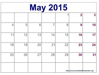 May 2015 Calendar Printable Pdf, Template, Excel, Doc. Download 2015 May Calendar With Holidays ...