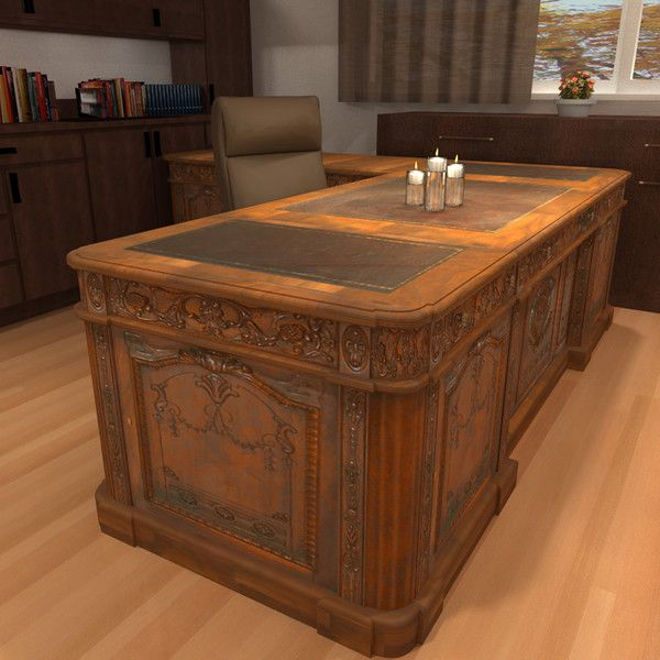 carved wood antique office desk 3d model resolute architectural