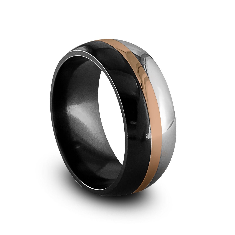 mens black wedding rings Black Gold Rings Black Titanium Rose Gold Men s Ring