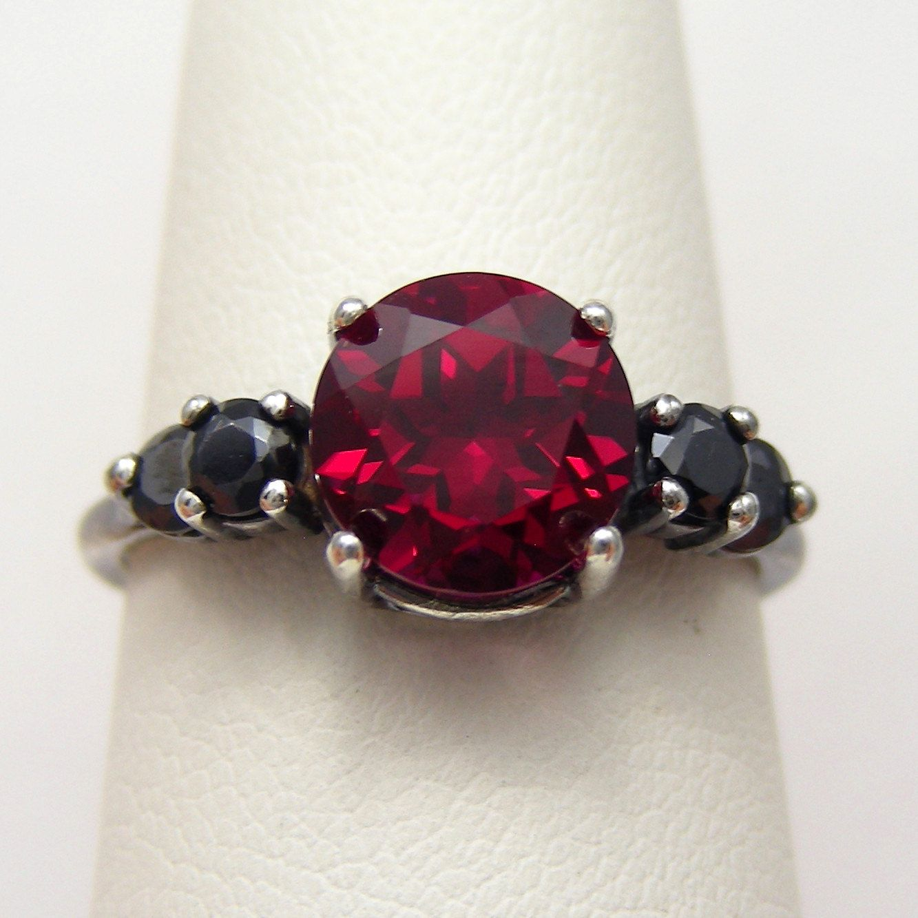 deadpool wedding ring Unique Engagement Ring Unique Wedding Ring 2ct Blood Red Ruby Accented Black Silver Oxidized