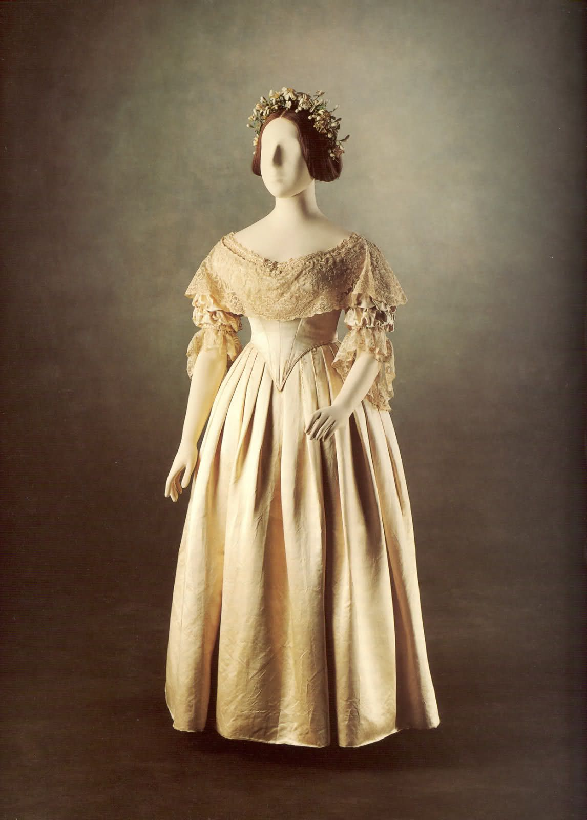 victorian wedding dress Queen Victoria s white satin and Honiton lace wedding gown British On her