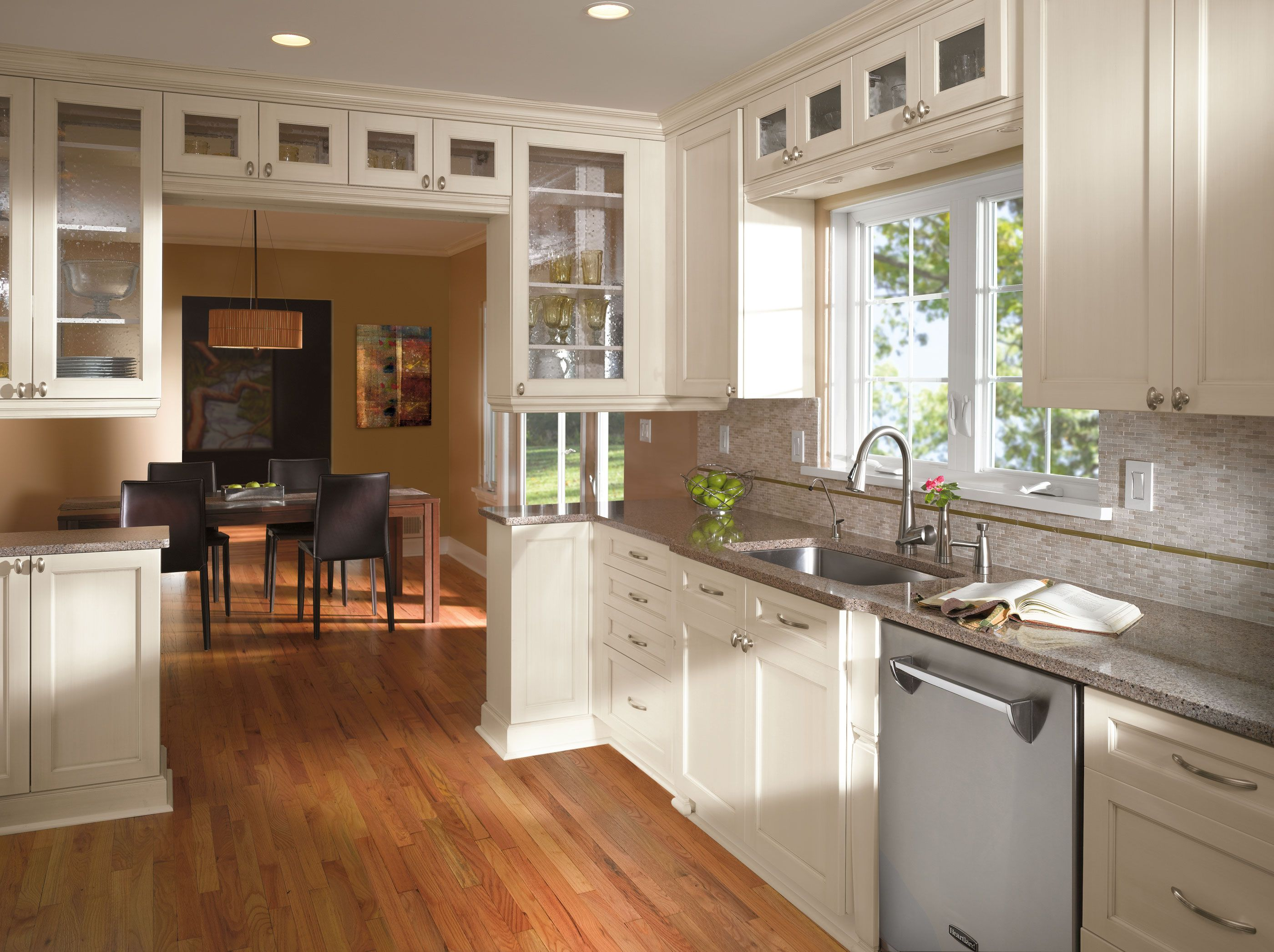 kitchen craft cabinets The Shaker cabinet style inspired Pearson cabinet door style in grayish dark Weathered Slate maple from Kitchen Craft Cabinetry is an adaptable res