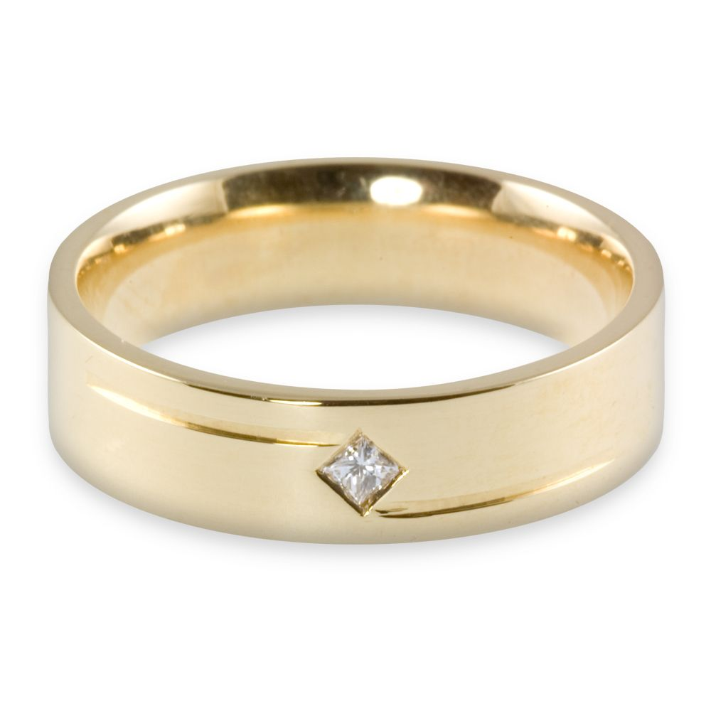 couples wedding bands Yellow gold princess cut diamond wedding ring
