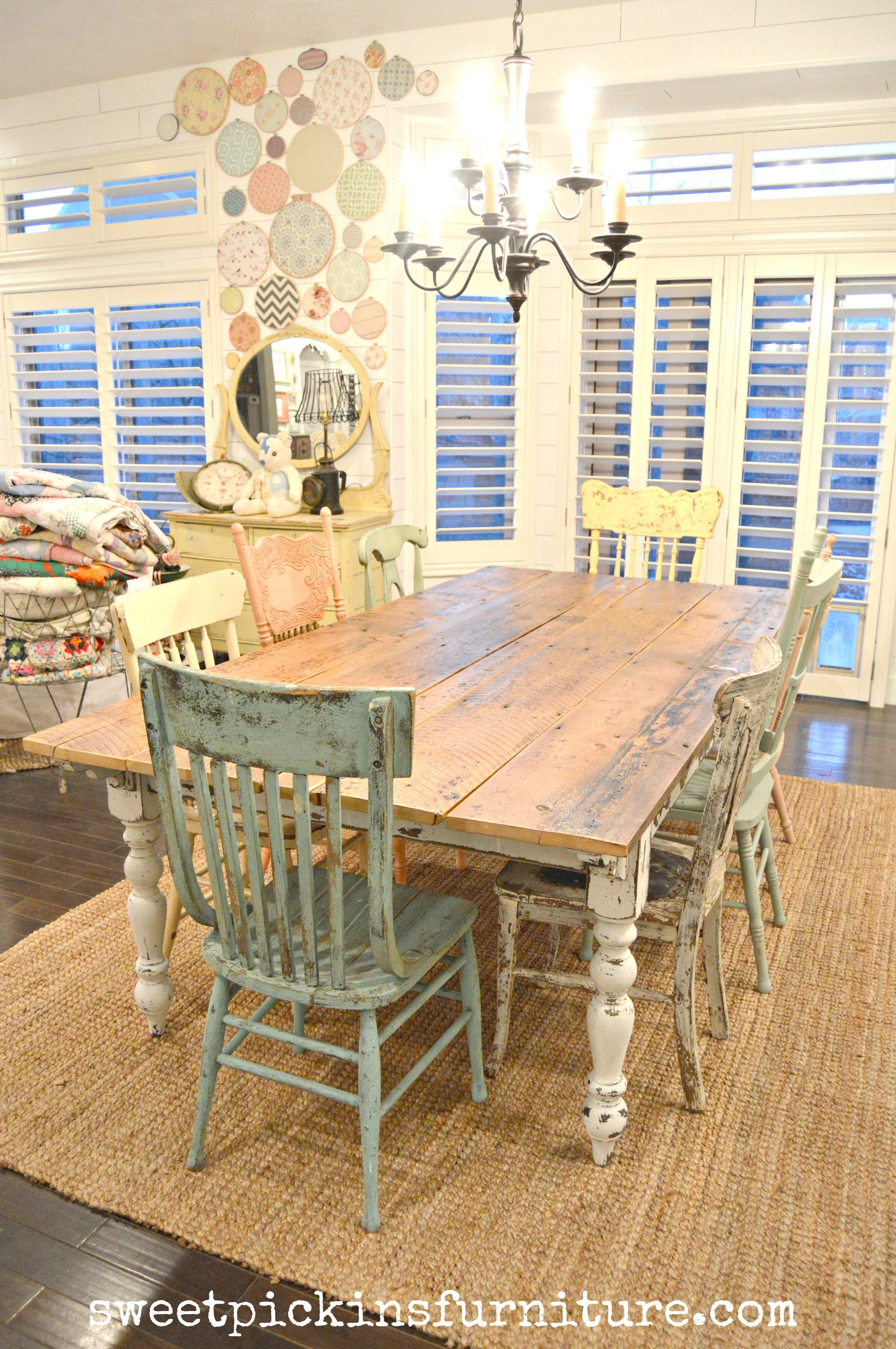 two seat kitchen table Zinc topped Table Mismatched Chairs in Rainbow Colors