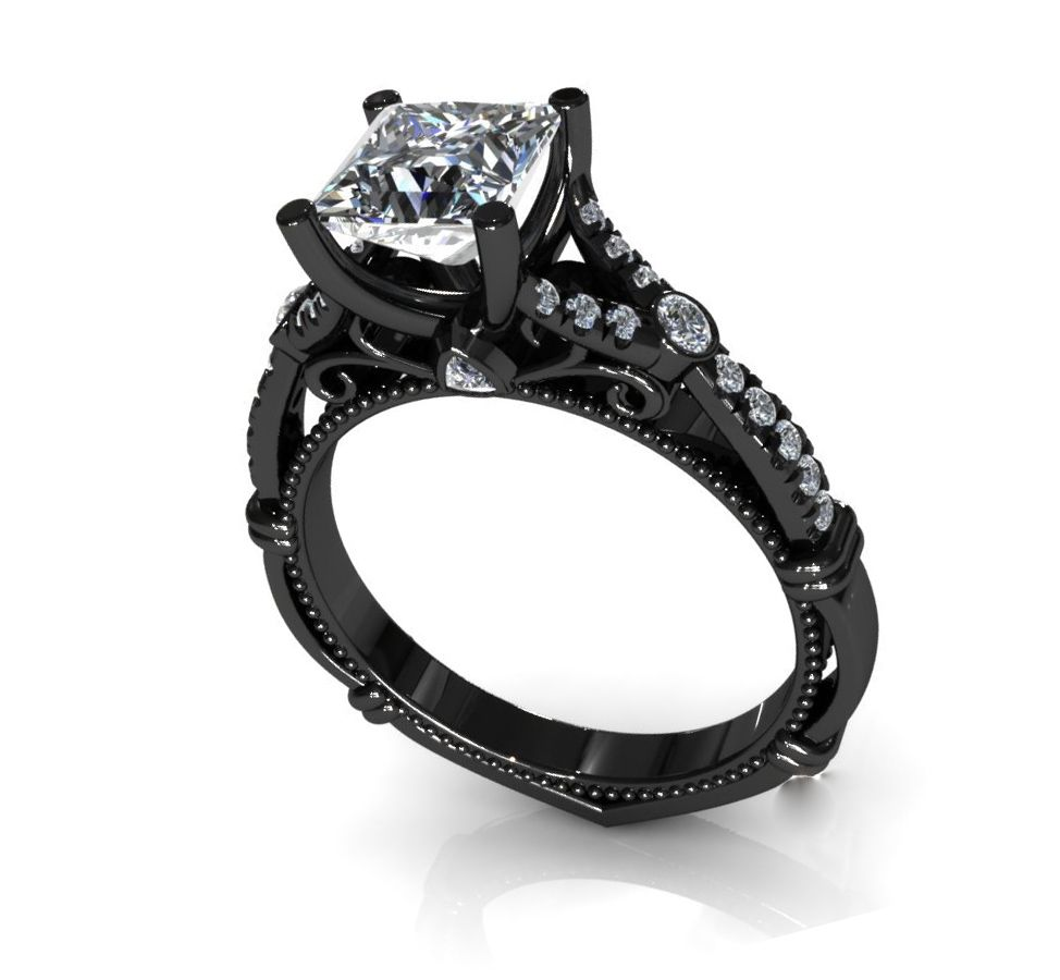 black gold wedding band wedding rings for women Rings For Women Princess Cut Black Gold