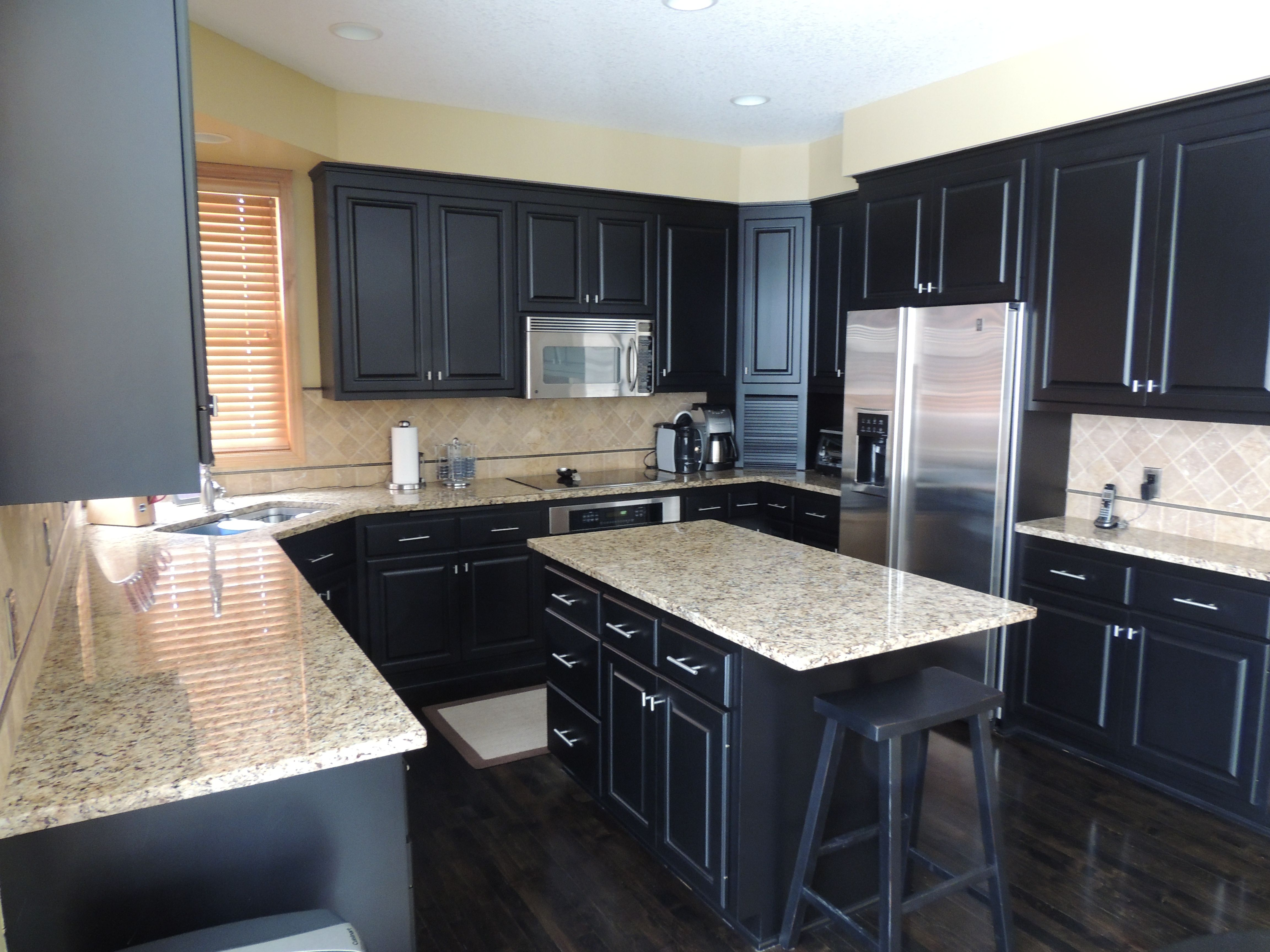 Contemporary Black Kitchen Cabinets With White Marble Countertops Furniture Glorious Granite As Well Inside Design Decorating