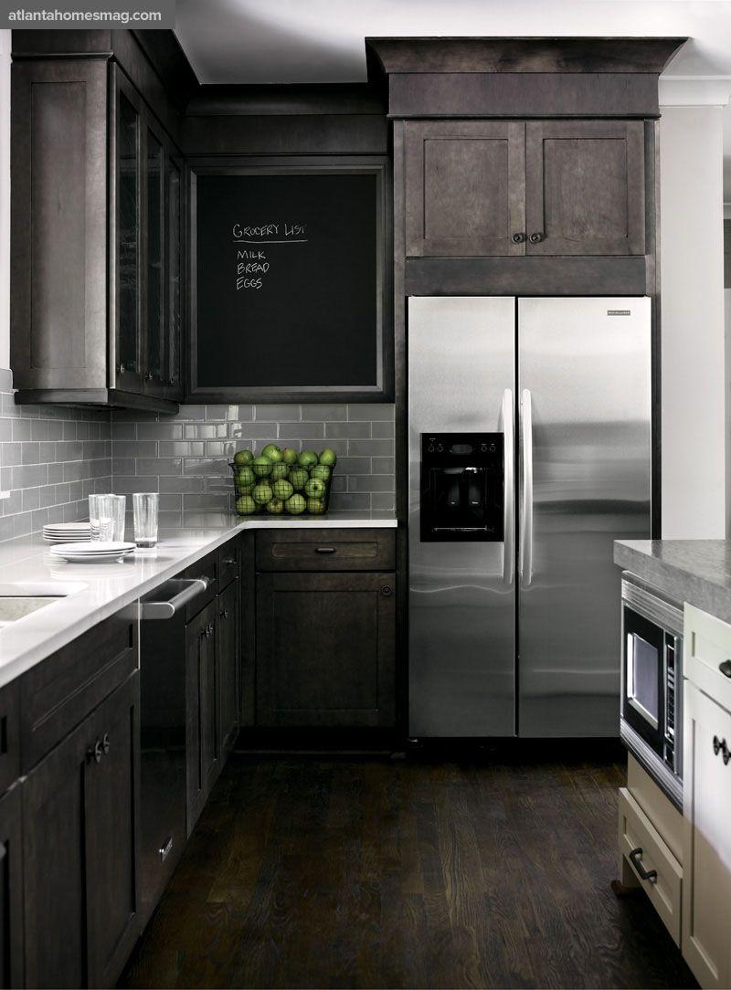 hardwood floor in kitchen Dark rustic wood mixed with modern elements gray white kitchen