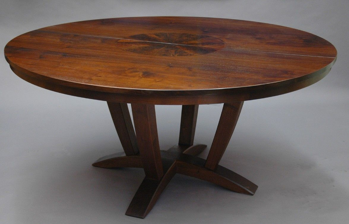 expandable kitchen table Brown Polished Chestnut Wood Expandable Dining Table With Round Eased Table Top
