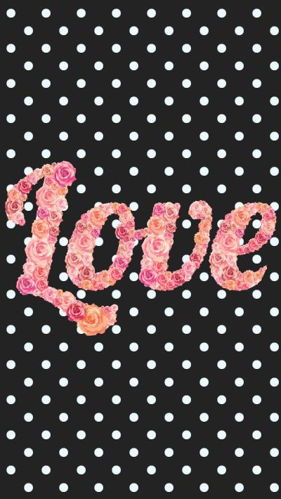 Black white pink floral roses love polka dots iphone phone background lock screen wallpaper ...