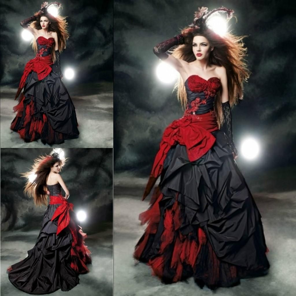 black and red dress halloween wedding dresses Black And Red Ball Gown Wedding Dresses Sweetheart Taffeta Floor