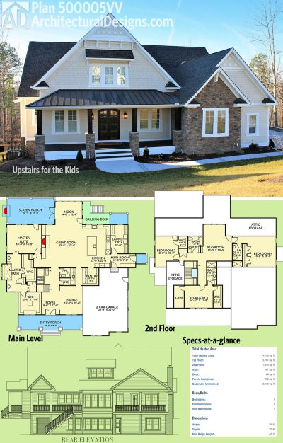 Plan 500005VV: Upstairs for the Kids | Architectural design house plans, Square feet and Living ...