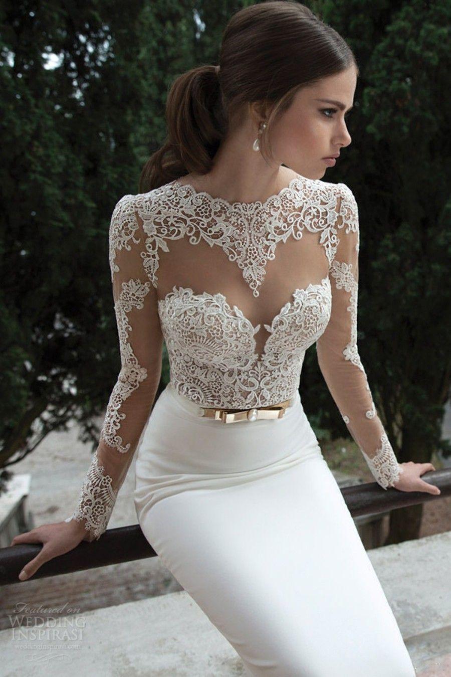 train wedding dress Trumpet Mermaid Long Sleeves Satin Sweep Brush Train Lace Wedding Dresses
