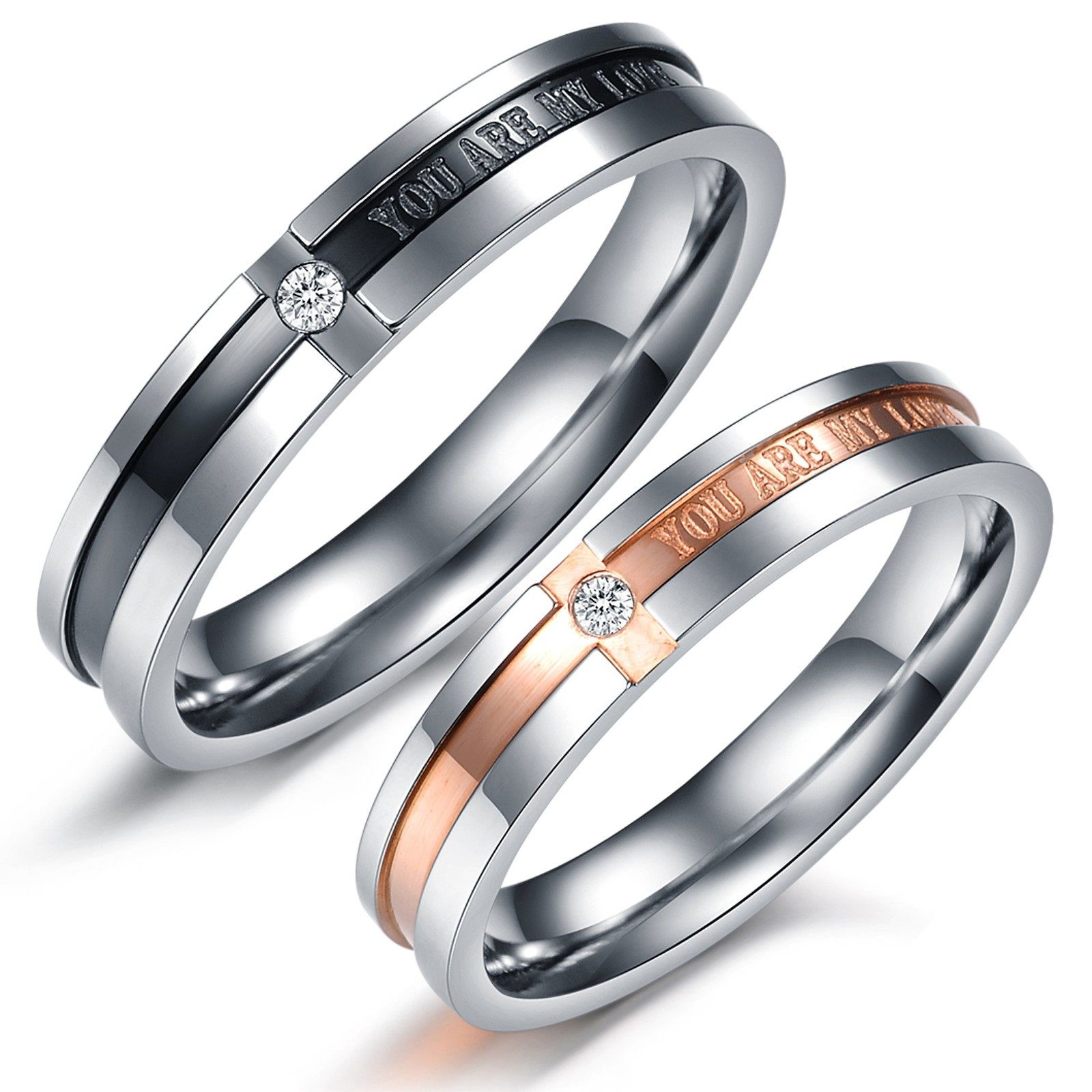 couples wedding bands Simple bu elegant couples rings Matching Couple Titanium Steel Engagement Promise Ring Wedding Bands