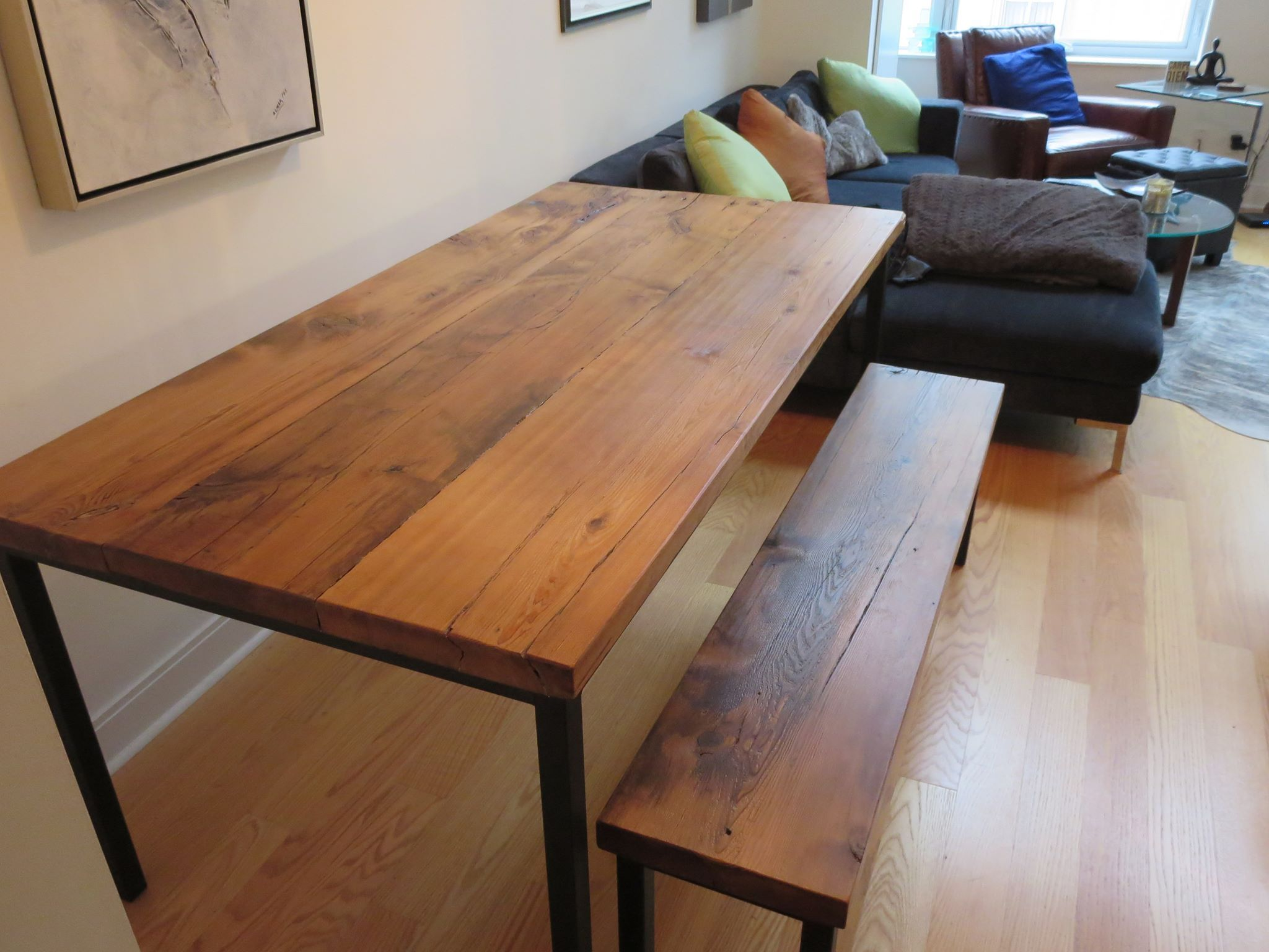 wood kitchen tables custom barn wood kitchen table with square metal frame