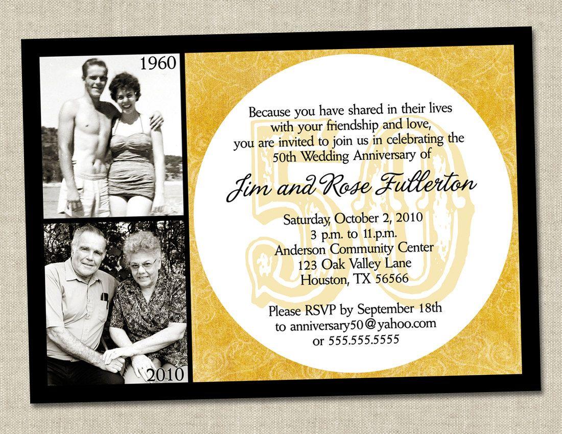 50th wedding anniversary mom and dad 50th wedding anniversary 50th anniversary invitation Golden gold anniversary wedding party invite Printable Digital File