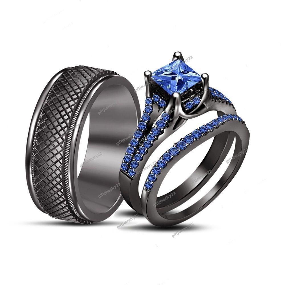 unisex wedding bands 3 30 Ct Princess Rd Blue Sapphire 14K Black Gold Unisex Wedding Band Trio Set