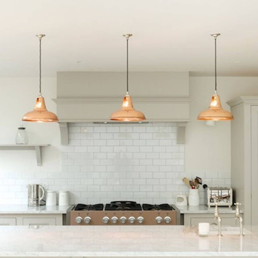 copper pendant light kitchen Coolicon Industrial Pendant Light Polished