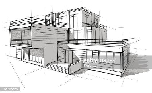 Contemporary Architecture Design Sketches Vector Art In Inspiration