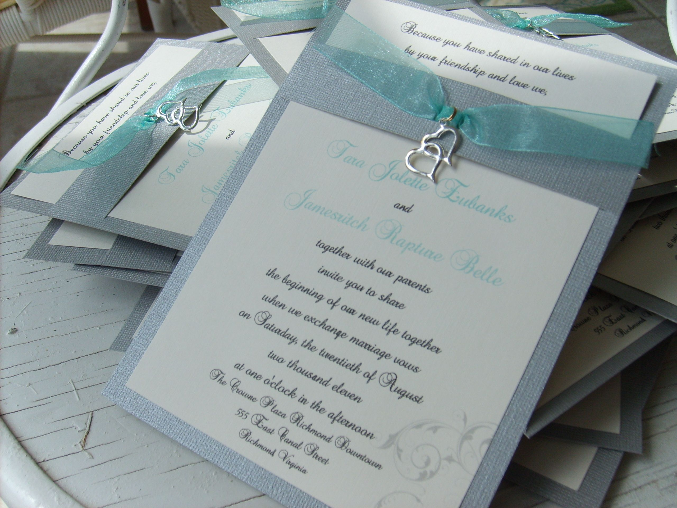 tiffany blue wedding invitations beautiful silver and aqua handmade wedding invitations with double heart charm from www rubiesandpearlsllc