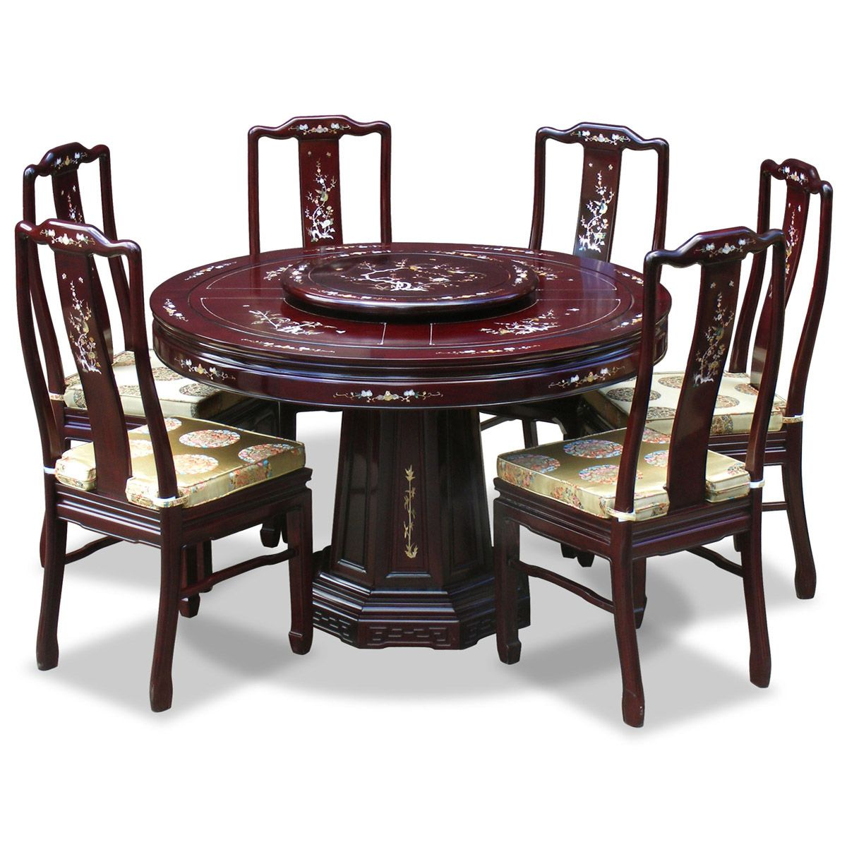 kitchen table round 48in Rosewood Mother of Pearl Design Round Dining Table with 6 Chairs
