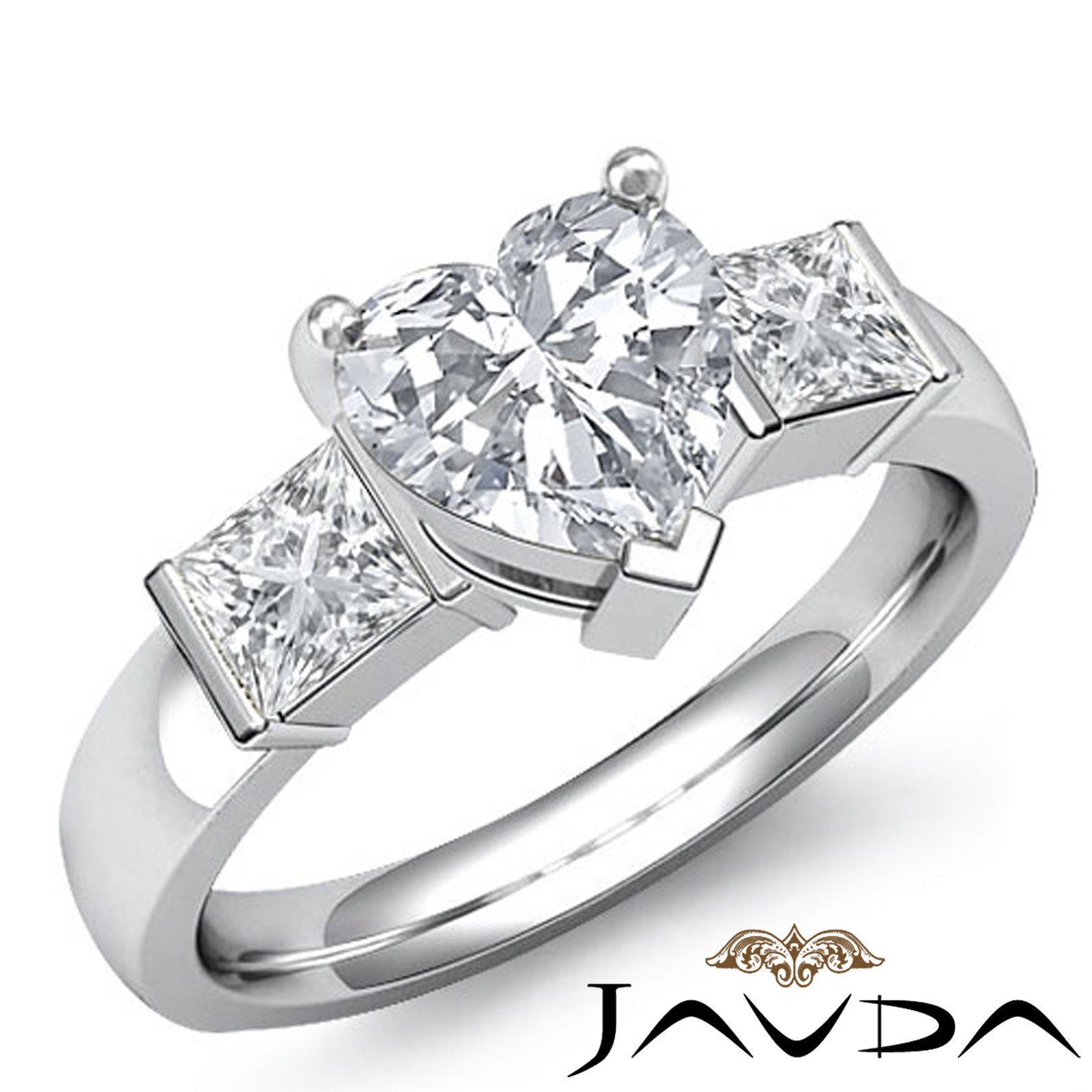 ebay wedding rings sets Three Stone Heart Diamond Bar Set Ideal Engagement Ring EGL G VS2 Platinum 1 6ct