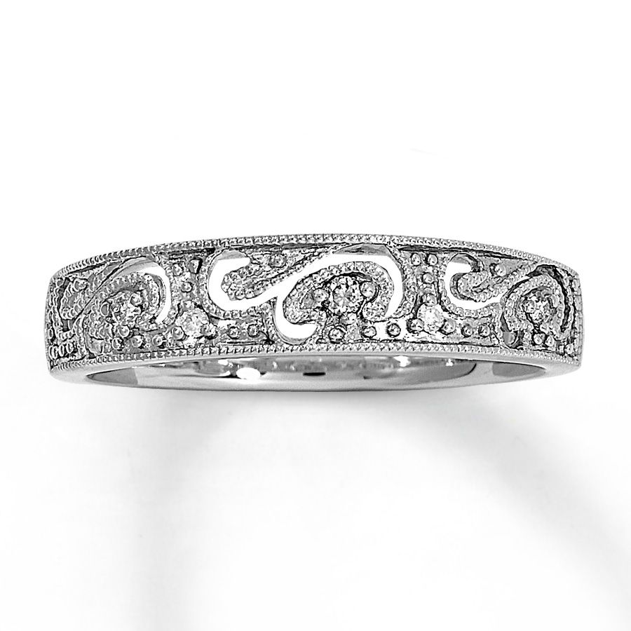 kay jewelers wedding bands Milgrain finished waves of white gold accented by round diamonds flow throughout this eye catching fine jewelry diamond ring for her