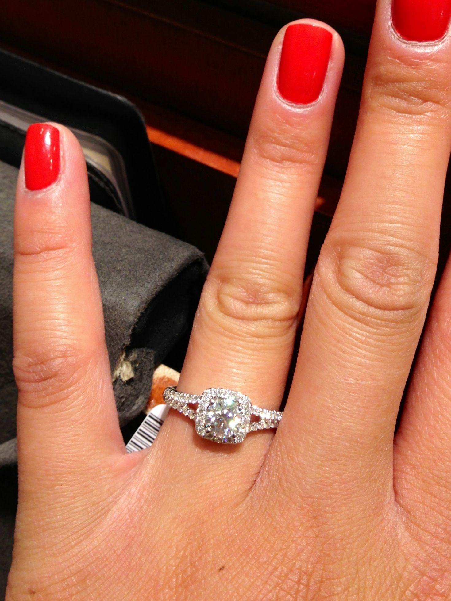 zales diamond wedding rings 1 carat Celebration Fire split shank halo at Zales