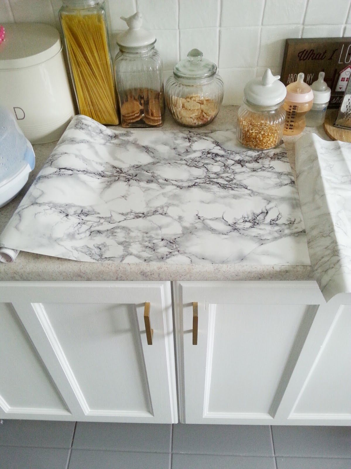 marble kitchen countertops Faux marble DIY counter tops using contact paper Totally reversible