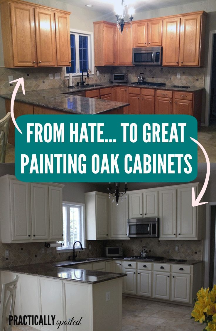 oak kitchen cabinets From HATE to GREAT a tale of painting oak cabinets practicallyspoiled com