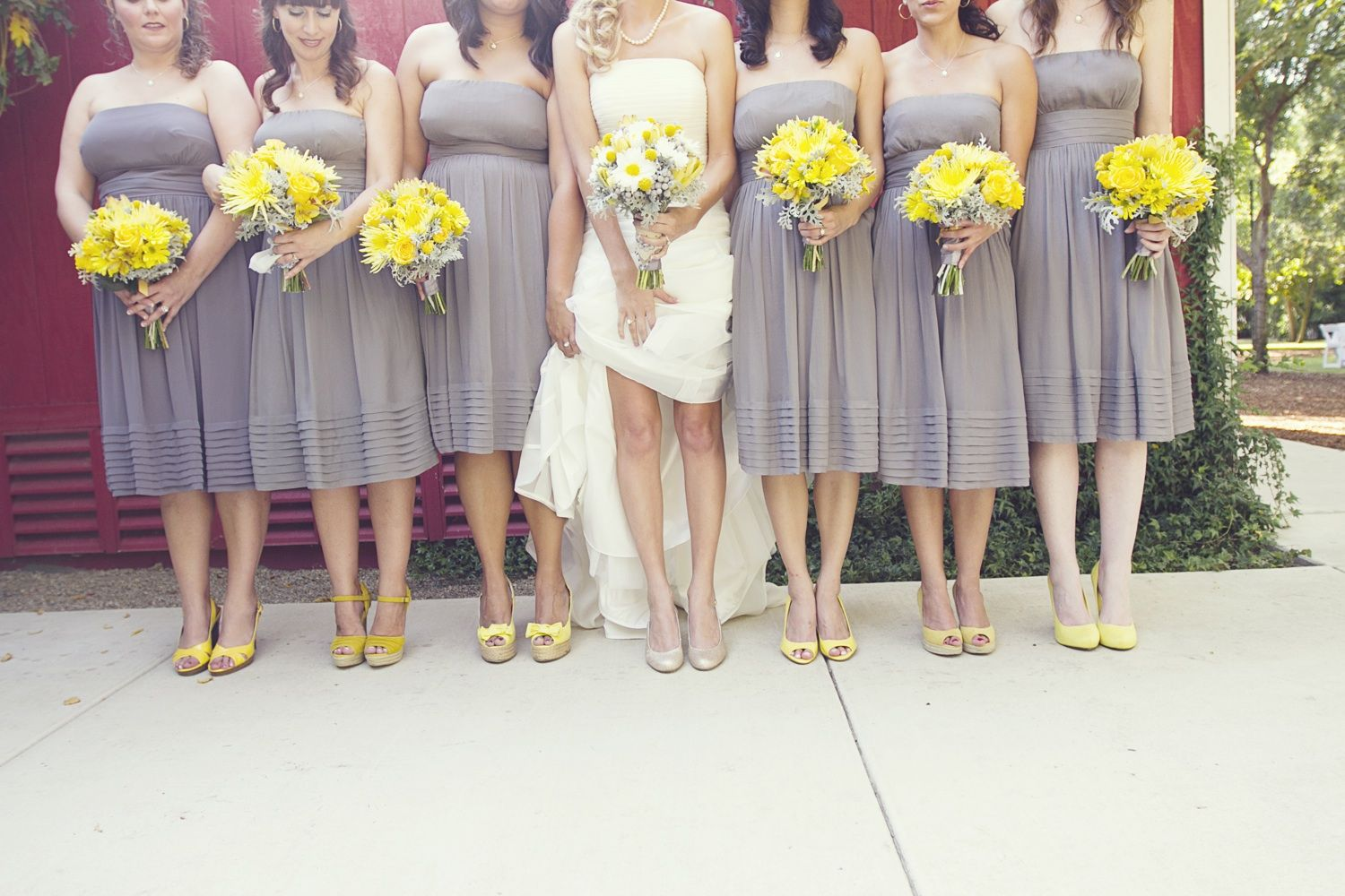 gray dresses for wedding real fall wedding september grey bridesmaids dresses but with purple instead