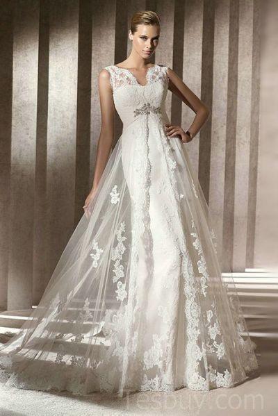 V Neck Mermaid Satin Vintage Wedding Dress WIth Gorgeous ...