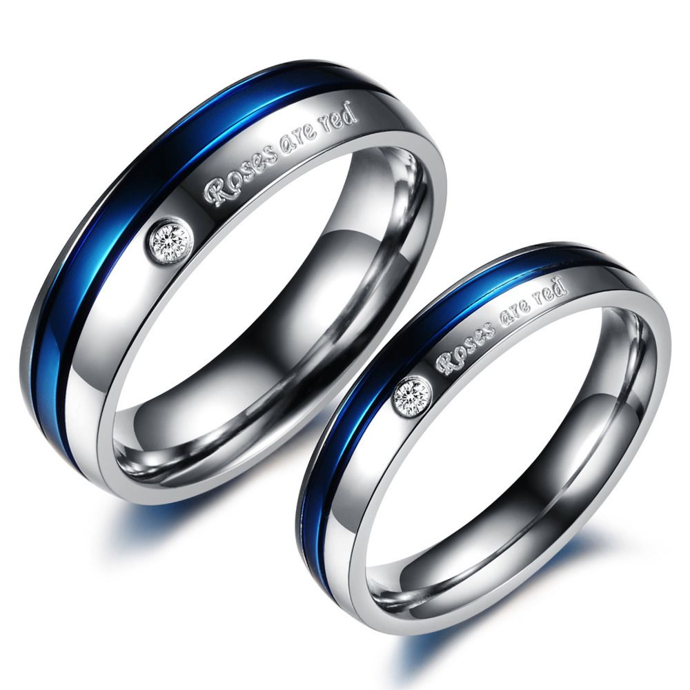 blue wedding rings Blue Wedding Rings for Women Blue CZ Diamond Titanium