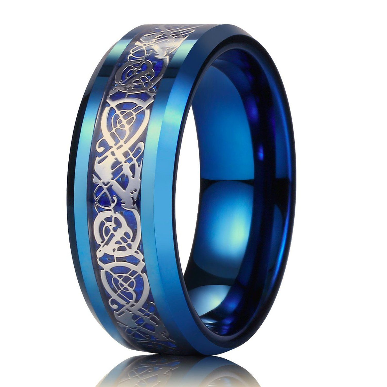 amazon wedding rings King Will Men Women 8mm Tungsten Carbide Ring Blue Carbon Fiber Silver Celtic Dragon Inlay Wedding