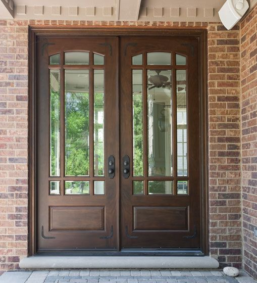 double door clear beveled glass w praise grills prehung prefinished wood front entry doors instock from for builders inc