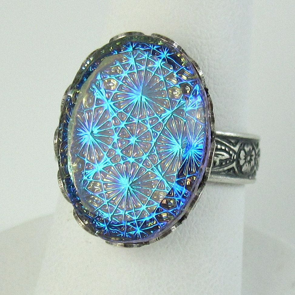 sears wedding bands Blue Opal Ring Adjustable Cocktail Ring Glass Stone with Silver Ring Band Art Deco Jewelry